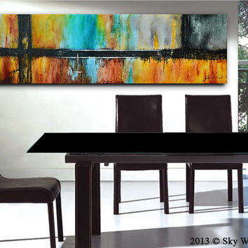 Large Original Painting Modern Abstract Art Colorful Contemporary Oil Painting Abstract 20x72 Free Shipping 6ft READY TO HANG