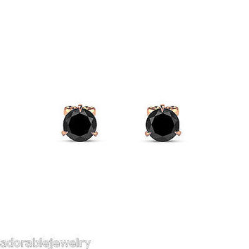 14k Rose Gold Finish Round Black Diamond Solitaire Stud Earrings in 925 Sterling