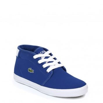 LACOSTE JUNIOR AMPTHILL BLUE WHITE TRAINERS