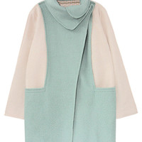 ROMWE | Romwe Loose Color Block Turtleneck Mint Coat, The Latest Street Fashion