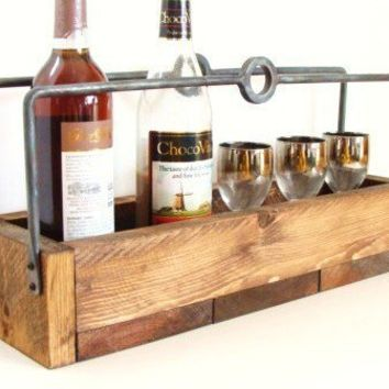 Wine Caddy Rustic Wood Tray Carrier Tote Forged by baconsquarefarm