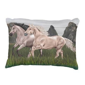 Buckskin and Palomino Horse Decorative Pillow