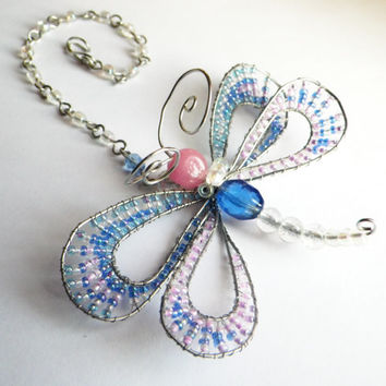 Spring Butterfly- Dragonfly- Pink and Blue- Beaded Wire Craft- Rear View Mirror Charm- Window Charm- Sun Catcher- Summer Gift for Her