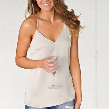 * Kennedy Sleeveless Top W/ Side Slits : Shimmery Taupe