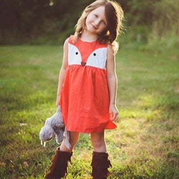 Children Sleeveless Dress Casual Baby Girls Child Toddler Kid Fox Dress Formal Party Wedding Tutu Dresses