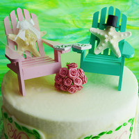 Wedding Cake Topper ~ Pink and  Sea Green  Miniature Adirondack Chairs ~ Starfish Bride and Groom ~ Beach Wedding Decor ~ Cake Topper