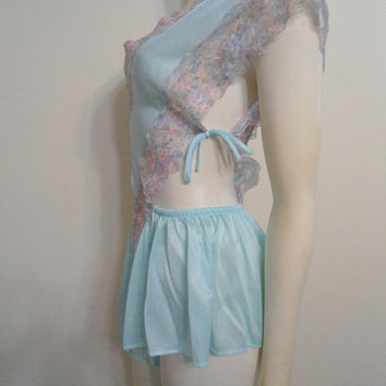 Vintage Teddy Mint Green and Lace Size Medium