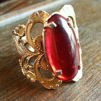 Vintage Ruby Red Oval Cabochon Adjustable Ring in Ornate Brass Filigree - Red Glass Ring - Vintage Filigree Ring - Red Cabochon Ring