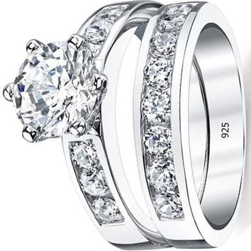 2.35 Carats Sterling Silver 925 2.00 Carat Engagement Ring Wedding Band Set 2-Pc With Cubic Zirconia