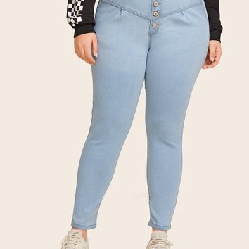 Plus Size Button Front Bleach Wash Skinny Jeans