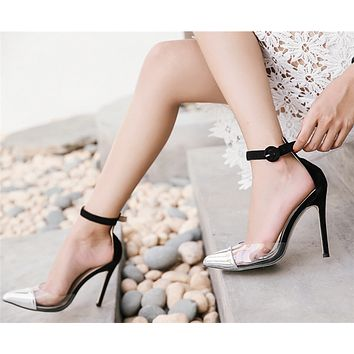 Women Sandals Multicolor Perspective Shallow Mouth Pointed Top Heels Shoes