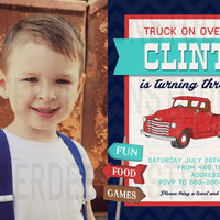 Old Vintage Truck Birthday Invitation - Printable Digital file