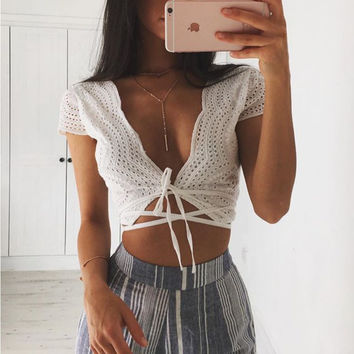 White Cut Out Tied Front Strap Short Sleeve Top