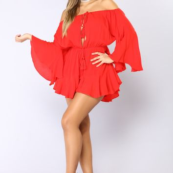Camellia Off Shoulder Romper - Red
