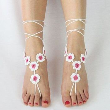 Pair of Graceful Embellished Floral Anklets For Women - Pink