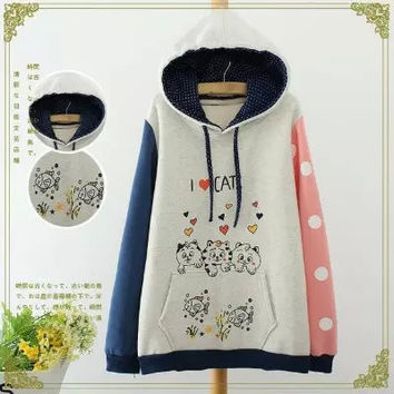 Block Dot Cat Print Hoodie Sweater
