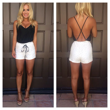 Crochet Two Tone Romper - Black & White