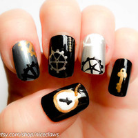 Steampunk 3D Fake Nails Gears and Clocks