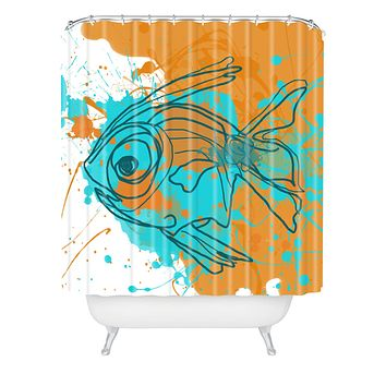 Irena Orlov Aqua Fish Shower Curtain