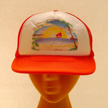70s 80s Vintage Snapback hat / Tropical Hawaiian Trucker Hat / Beach Ocean Summer / White + Orange Baseball Cap Hipster 90s grunge Mesh Hat