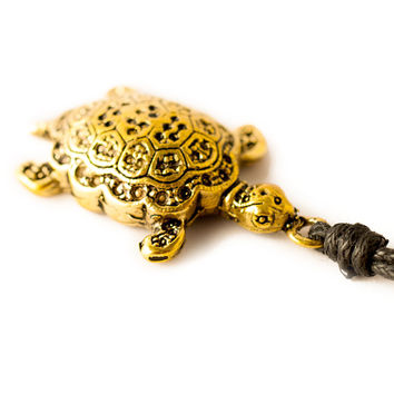 Turtle Chinese Luck I Ching Handmade Brass Necklace Pendant Jewelry
