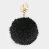 Large Rabbit Fur Pom Pom Keychain, Key Ring Bag Pendant Accessory - Black