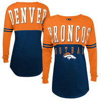 Women's Denver Broncos 5th & Ocean by New Era Navy Baby Jersey Spirit Top Long Sleeve T-Shirt