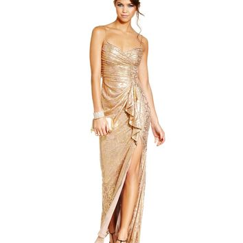 Hailey Logan Juniors Dress, Spaghetti-Strap Metallic Printed Gown - Dresses - Women - Macy's