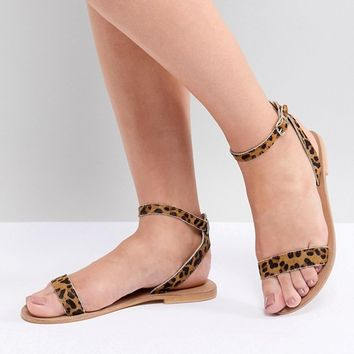ASOS DESIGN Felon Leather Flat Sandals at asos.com