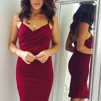 B| Chicloth Sheath Spaghettis-Straps Sexy Burgundy Homecoming Dresses