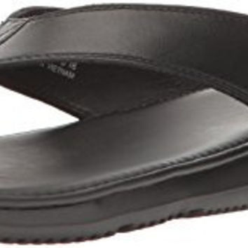 Cole Haan Men's Bristol Sandal Flip-Flop, Black Leather, 10 Medium US