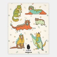 Cats Wearing Dinosaur Costumes Stickers