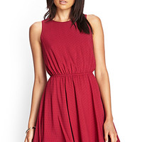 FOREVER 21 Polka Dot Fit & Flare Dress Burgundy/Black