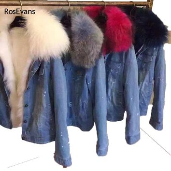 RosEvans 2017 Korean Winter Women Imitation fur Lined Denim Jeans Thicken Warm Jacket Faux Raccoon Fur Female Overcoat B78