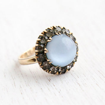 SALE - Vintage Art Deco Moonglow Baby Blue Cabochon, Rhinestone Cluster Ring - 14k R.G.P. 1930s Hallmarked Clark & Coombs Size 6 1/2 Jewelry