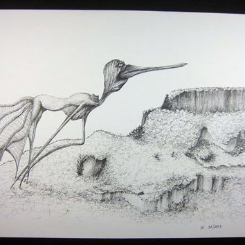 BIRD DOG: Original art, pen ink illustration, pen and ink art, pen drawing, black and white, absurd and surreal art 9x12