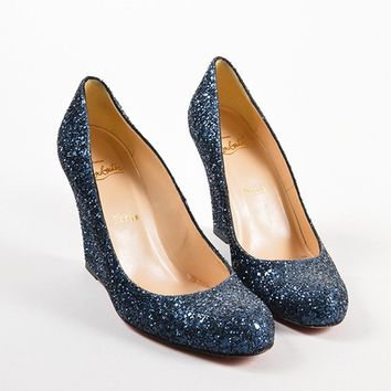 KUYOU Navy Blue Glitter Round Toe Wedges