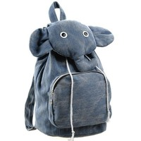 Blue Cute Elephant Canvas Backpack