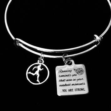 Runner Jewelry You are Strong Adjustable Bracelet Expandable Silver Charm Bangle One Size Fits All Gift