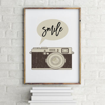 PRINTABLE POSTER Wall artwork Retro Camera Smile Quote Printable Art Retro Art Dorm Decor Smile Art Photography Quote  Smile Print