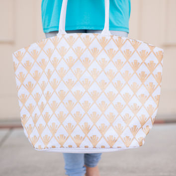 Shimmer Tote - White Fan Diamond