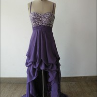 Hi- Lo purple sexy off shoulder long affordable prom dress   Cheap prom dresses Sale