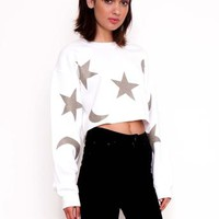 Gold Moon and Stars Sweater In White