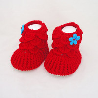 Crochet Baby Booties, Baby Girls Booties, Ugg Booties, Red Booties, Crocodile Stitch Booties
