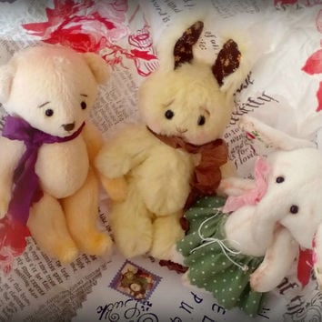 Set of 3 mini stuffed toys - bunny, elephant and bear Made to order