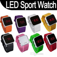 LED Silicone Watches Luxury Led Touch Sport Watches Mirro unisex plastic rubber jelly digital date calendar sport watches 100pcs/lot