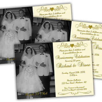 Ivory 50th Golden Anniversary Party Invitation - Vow Renewal 50th Wedding Anniversary Invitations - Heart Monogram - Photo Party Invites