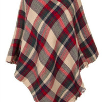 Tartan Plaid Poncho | Cream