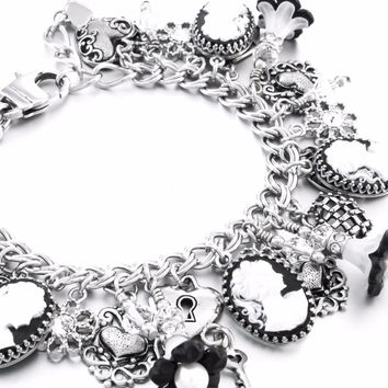 The Black Cameo Silver Charm Bracelet