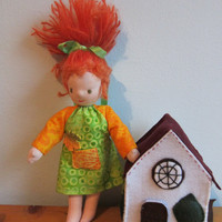 Erin Pixie doll with copper hair, Waldorf style, Artist's doll, collector's doll
